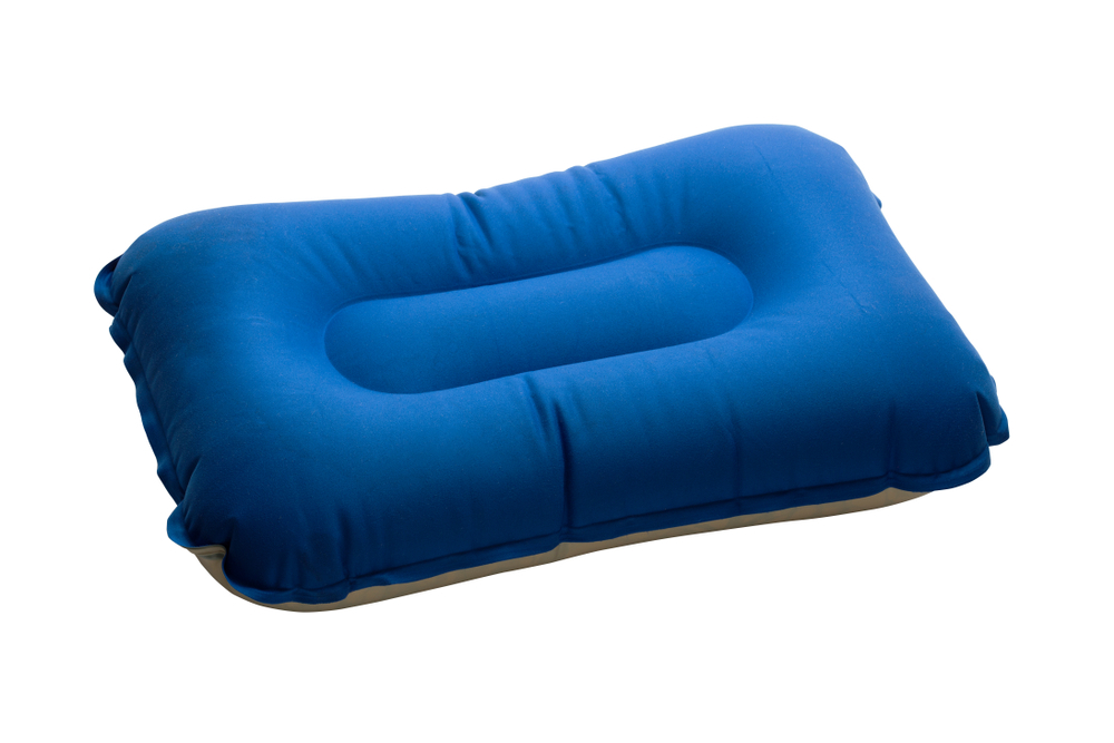 blue camping pillow