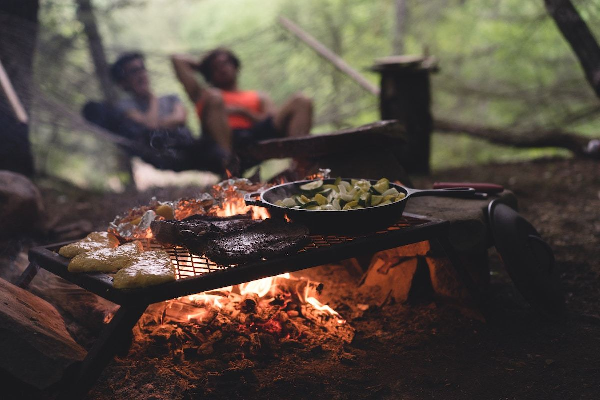 cooking food on campfire