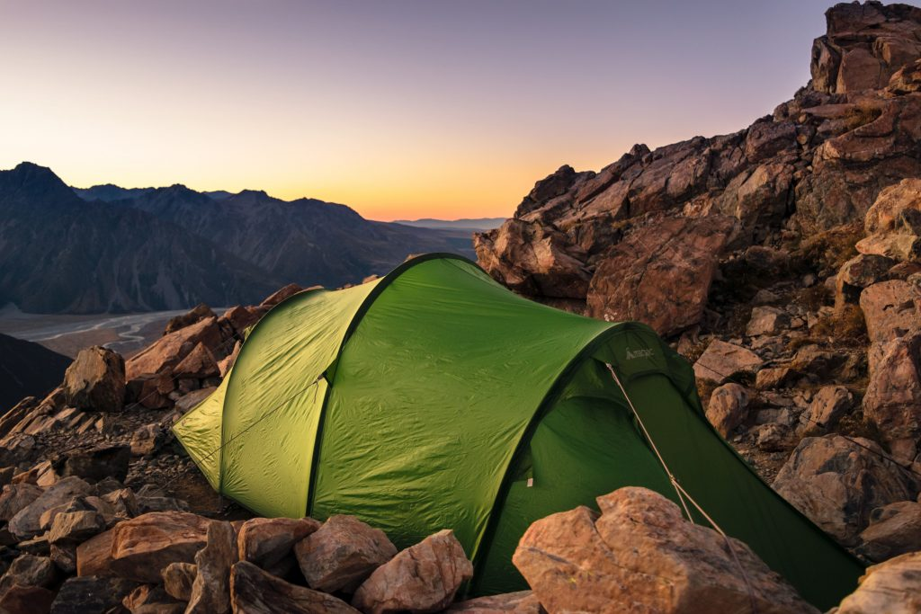 camping next to the rock